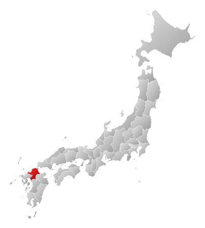 tone shading: Map of Japan with the provinces, filled with a linear gradient, Fukuoka is highlighted.