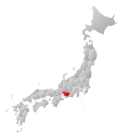Map of Japan with the provinces, filled with a linear gradient, Aichi is highlighted.