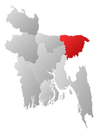Map of Bangladesh with the provinces, filled with a linear gradient, Sylhet is highlighted. Illustration