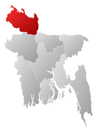 Map of Bangladesh with the provinces, filled with a linear gradient, Rangpur is highlighted. Illustration