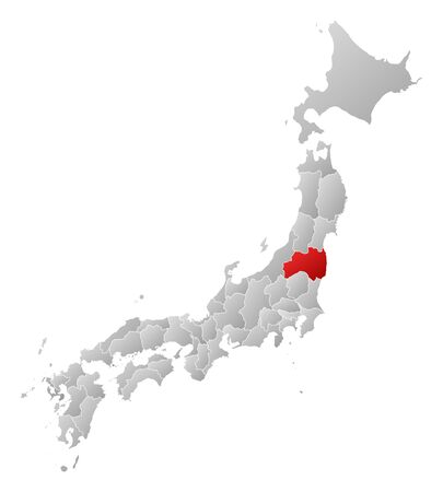 tone shading: Map of Japan with the provinces, filled with a linear gradient, Fukushima is highlighted. Illustration