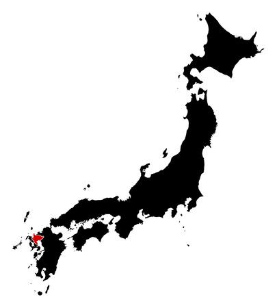 saga: Map of Japan in black, Saga is highlighted in red. Illustration