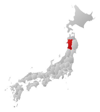 Map of Japan with the provinces, filled with a linear gradient, Akita is highlighted.