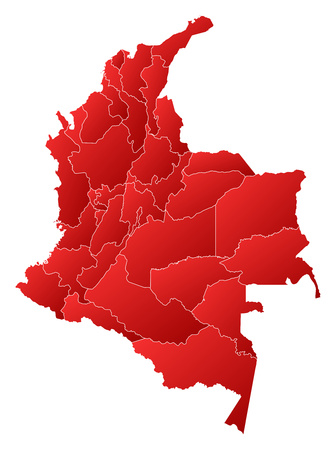 Map of Colombia with the provinces, filled with a linear gradient. Illustration