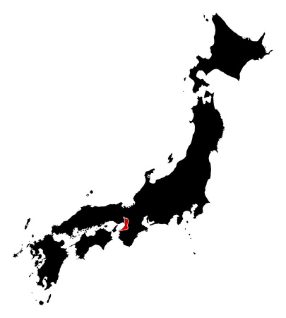 Map of Japan in black, Osaka is highlighted in red.