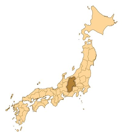 Map of Japan with the provinces, Nagano is highlighted.