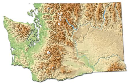 three colored: Relief map of Washington, a province of United States, with shaded relief.