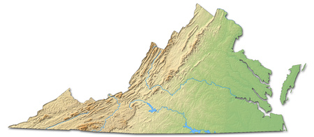 Relief map of Virginia, a province of United States, with shaded relief.