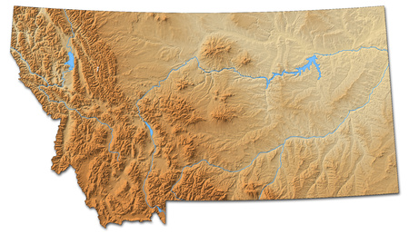 Relief map of Montana, a province of United States, with shaded relief.