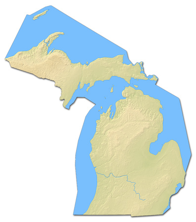 Relief map of Michigan, a province of United States, with shaded relief.