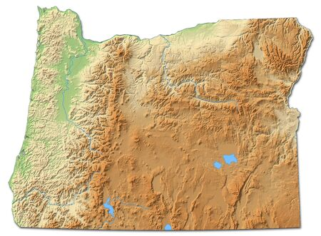 Relief map of Oregon, a province of United States, with shaded relief. Banco de Imagens