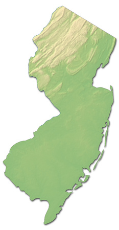 shaded: Relief map of New Jersey, a province of United States, with shaded relief. Stock Photo