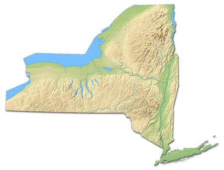 Relief map of New York, a province of United States, with shaded relief.