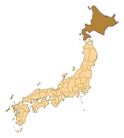 hokkaido: Map of Japan with the provinces, Hokkaido is highlighted.