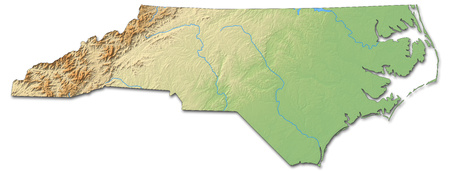 Relief map of North Carolina, a province of United States, with shaded relief. Stock Photo