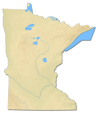 Relief Map Of Minnesota, A Province Of United States, With Shaded ...