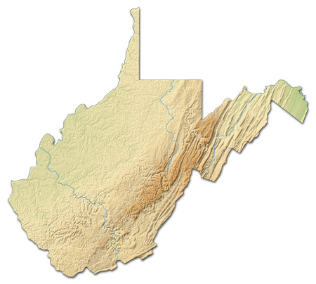 Relief map of West Virginia, a province of United States, with shaded relief.