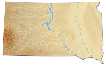 Relief map of South Dakota, a province of United States, with shaded relief.