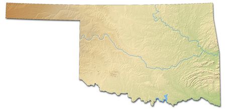 Relief map of Oklahoma, a province of United States, with shaded relief.