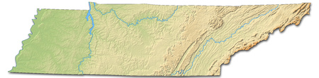 Relief map of Tennessee, a province of United States, with shaded relief. Stock Photo