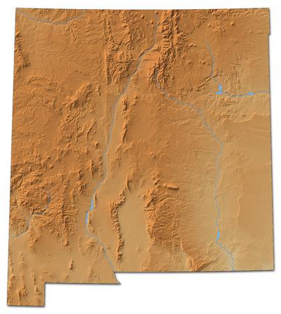 Relief kaart van New Mexico, een provincie van de Verenigde Staten, met schaduwrijke opluchting. Stockfoto