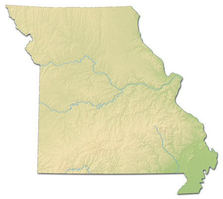 Relief map of Missouri, a province of United States, with shaded relief.