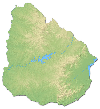 shaded: Relief map of Uruguay with shaded relief. Stock Photo