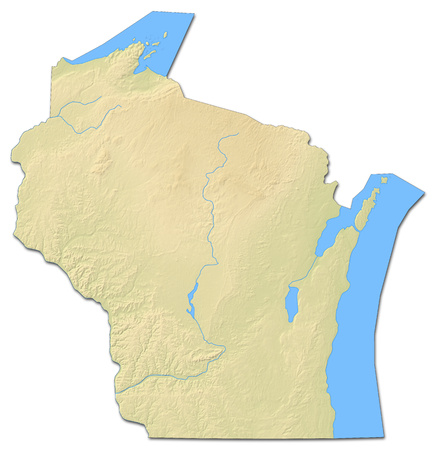 Relief Map Of Wisconsin, A Province Of United States, With Shaded ...