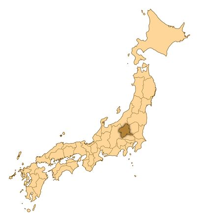 three colored: Map of Japan with the provinces, Gunma is highlighted.