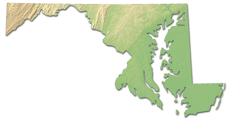 Relief map of Maryland, a province of United States, with shaded relief.