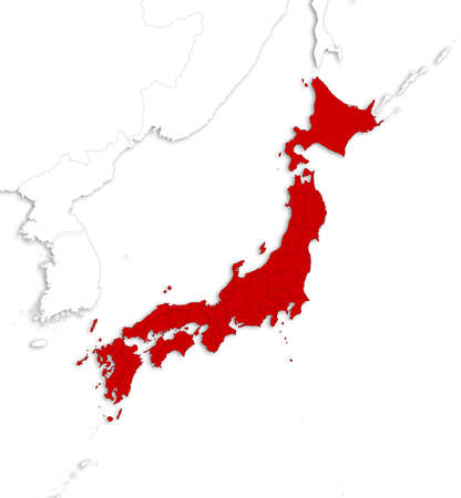 Map of Japan with the provinces and nearby countries as a white area over its shadow.