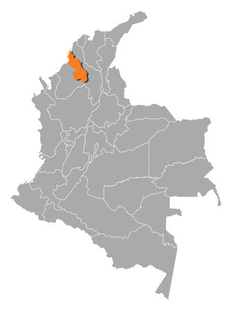Mapa de Colombia con las provincias, Sucre se destaca por la naranja.