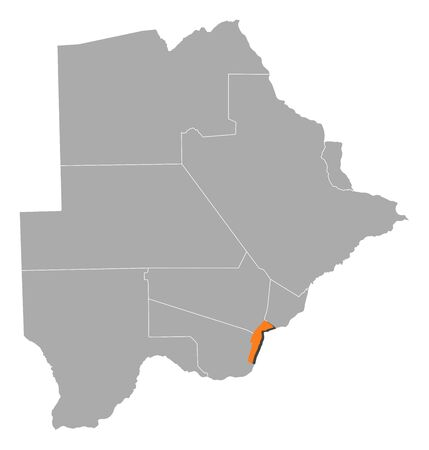southeast: Map of Botswana with the provinces, South-East is highlighted by orange.