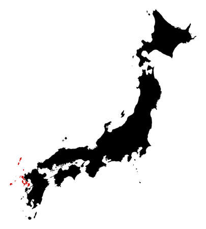 nagasaki: Map of Japan in black, Nagasaki is highlighted in red.
