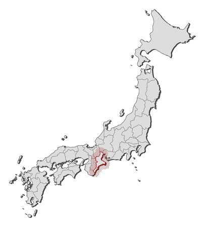 Map of Japan with the provinces, Mie is highlighted by a hatching.