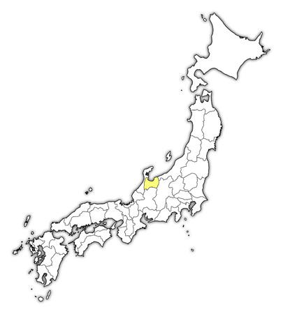 Map of Japan with the provinces, Toyama is highlighted in yellow. Illustration