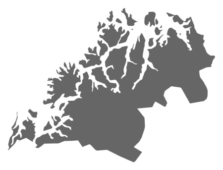 Map of Troms, a province of Norway.