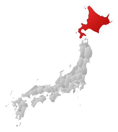 hokkaido: Map of Japan with the provinces, filled with a linear gradient, Hokkaido is highlighted.