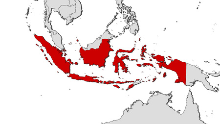 Map of Indonesia and nearby countries, Indonesia is highlighted in red. Illustration
