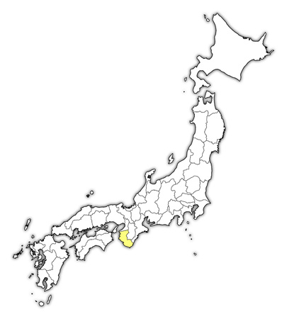 Map of Japan with the provinces, Wakayama is highlighted in yellow.