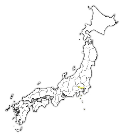 Map of Japan with the provinces, Tokyo is highlighted in yellow.
