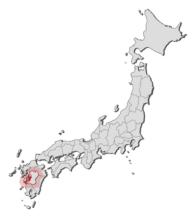 Map of Japan with the provinces, Kumamoto is highlighted by a hatching. Illustration