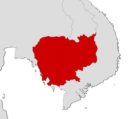 southeastern asia: Map of Cambodia and nearby countries, Cambodia is highlighted in red.