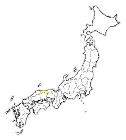 Map of Japan with the provinces, Tottori is highlighted in yellow. Illustration