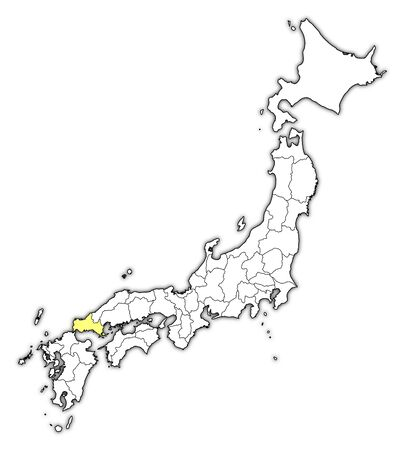 Map of Japan with the provinces, Yamaguchi is highlighted in yellow. Illustration