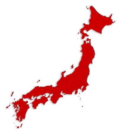 Map of Japan as a white area over its shadow. Illustration