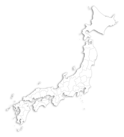 subdivision: Map of Japan as a white area over its shadow. Illustration
