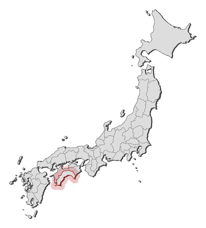 Map of Japan with the provinces, Kochi is highlighted by a hatching. Illustration