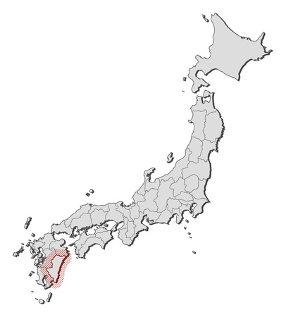 Map of Japan with the provinces, Miyazaki is highlighted by a hatching. Illustration