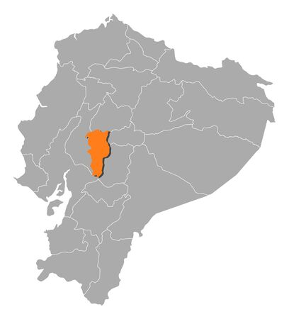 Map of Ecuador with the provinces, Bolivar is highlighted by orange.